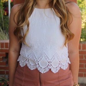 White halter top cropped tank top